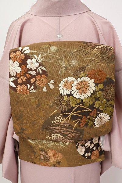銀座【L-5340】西陣 加納幸製 袋帯 茶色 四季花の丸文(落款入)