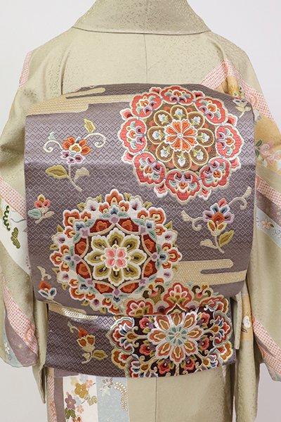 銀座【L-5341】袋帯 源氏鼠色 華文