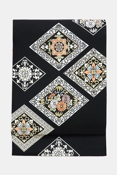 銀座【帯3617】西陣 藤原製 袋帯 黒色 菱文