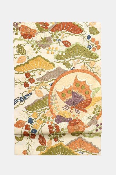 銀座【帯3619】唐織 袋帯 練色 松藤梅に揚羽蝶の丸文