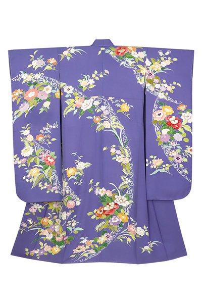 銀座【着物2964】千總製 振袖 菫色 洋花の図 (落款入・反端付)