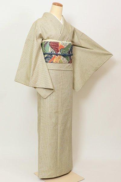 銀座【A-3248】ぜんまい紬 砂色 竪縞
