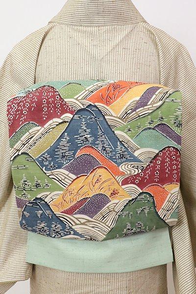 銀座【K-7138】紬地 染名古屋帯 柳鼠色 山々の図
