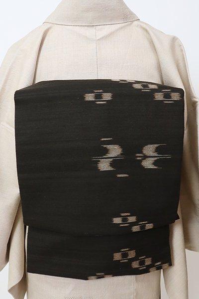 銀座【K-7142】久米島紬地 名古屋帯 憲法黒茶色 絣文(反端付・長尺)