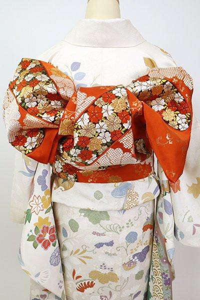 銀座【L-5347】西陣 河合美術織物製 袋帯 丹色 霞に菊の図(落款入)