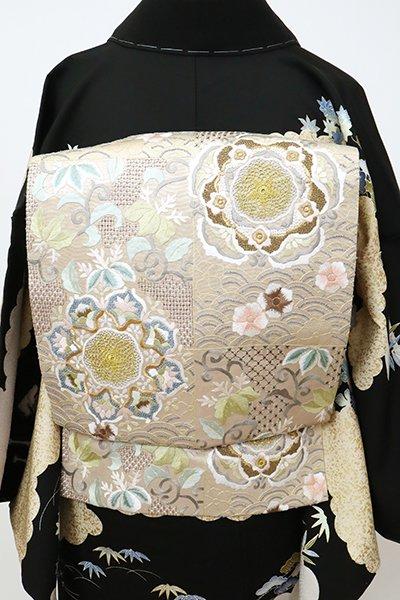 銀座【L-5350】総刺繍 袋帯 白茶色 華文など