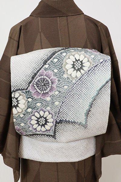 銀座【K-7143】藤娘 きぬたや製 絞り染め 名古屋帯 暁鼠色 花の図