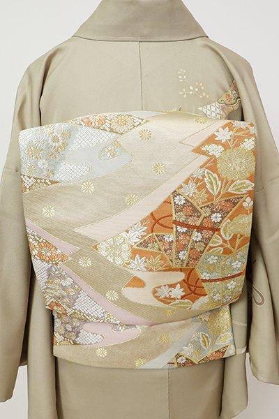 銀座【L-5351】西陣 河村織物製 袋帯 練色 誰ヶ袖宝来文(反端付・落款入)