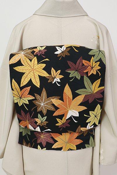 銀座【L-5352】西陣 河合美術織物製 袋帯 黒色 紅葉の図(落款入)