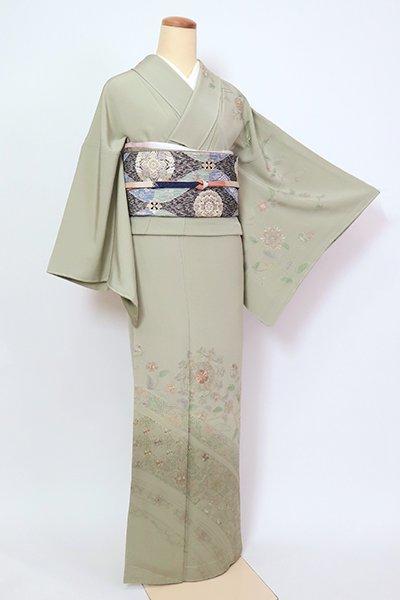 銀座【B-2758】繍一ッ紋 スワトウ刺繍 訪問着 山葵色  華文