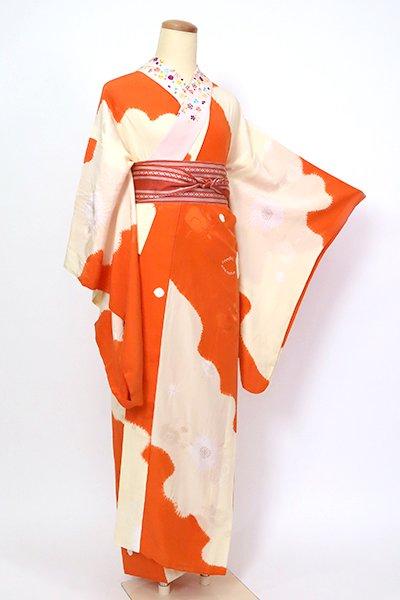 あおき【F-477】長襦袢 絞り染め 鳥の子色×赤橙色 梅の図(刺繍衿付)