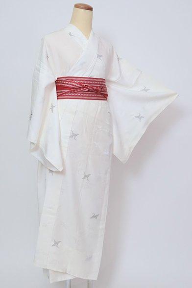 銀座【F-485】(S)長襦袢 白色 鶴の図