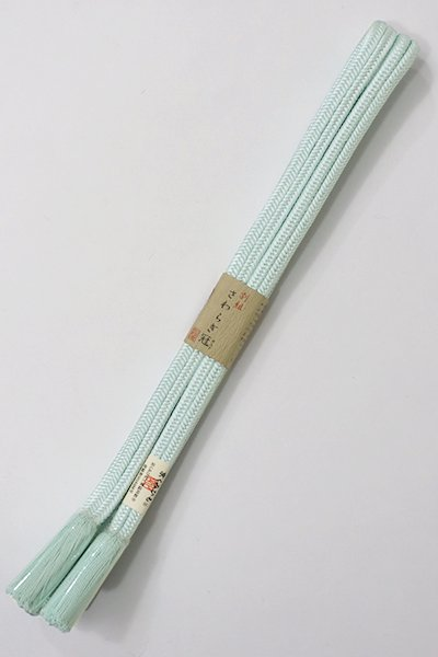 【G-1057】京都 衿秀製 帯締め 冠組 藍白色(新品)