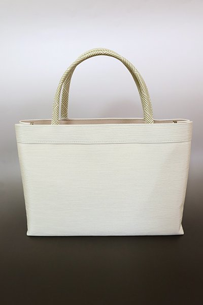 【G-1778】京都衿秀 楊柳×組紐 トートバッグ 生成り色