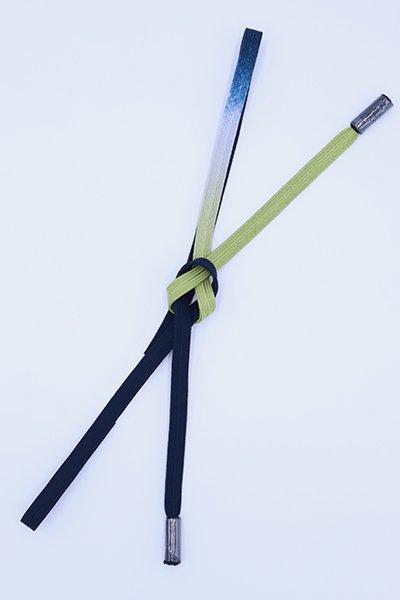 【G-1789】京都 衿秀製 帯締め 平組 濃藍色×青丹色 二色暈かし