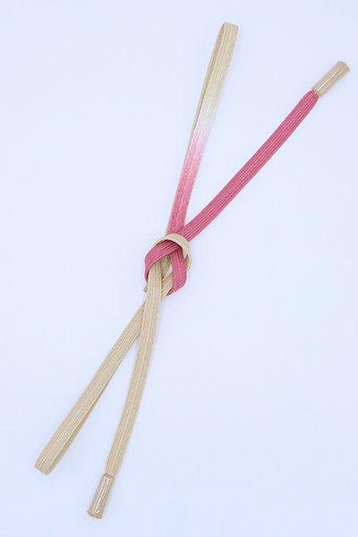 【G-1791】京都 衿秀製 帯締め 平組 中紅色×亜麻色 二色暈かし