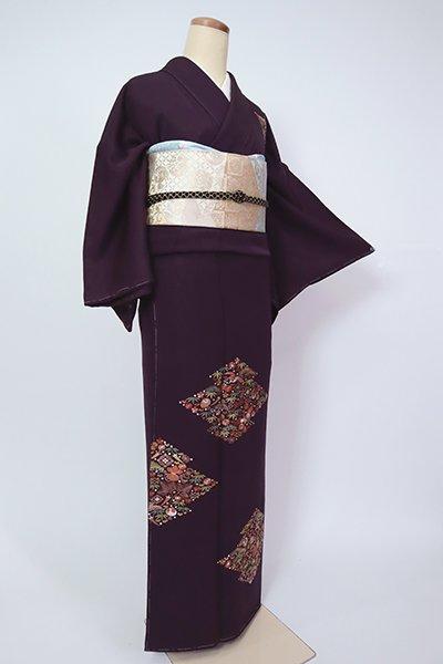 銀座【B-2764】(細め)繍一ッ紋 刺繍 付下げ 似せ紫色 松皮菱に宝尽くし文