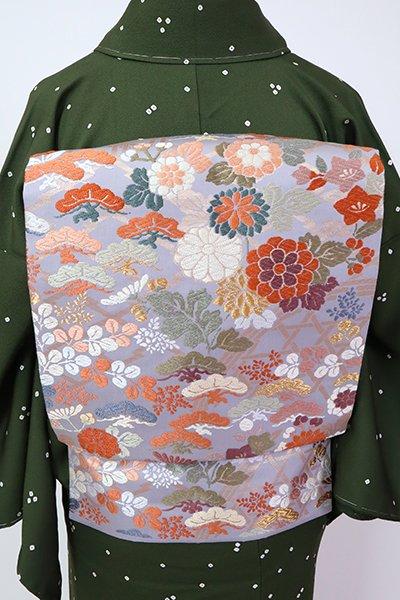 銀座【K-7148】織名古屋帯 藤鼠色 松や秋草の図