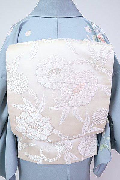 銀座【L-5355】袋帯 白色 牡丹唐草文