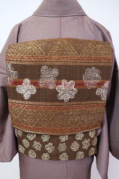 銀座【L-5357】洒落袋帯 灰茶色 装飾花文