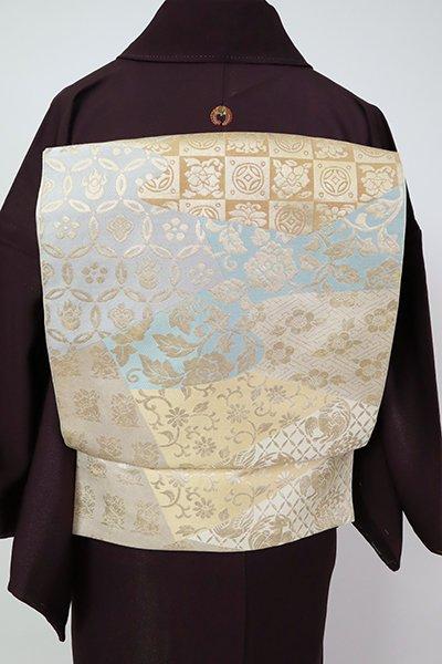 銀座【L-5359】西陣 川島織物製 本袋帯 薄卵色 裂取りに名物裂文(落款入)