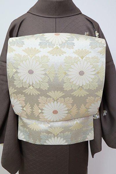銀座【L-5360】西陣 となみ織物製 袋帯 銀色 菊文(落款入)