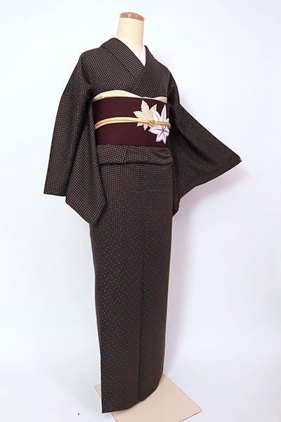 銀座【A-3253】(細め)浮き織り 着物 檳榔子染色 幾何文