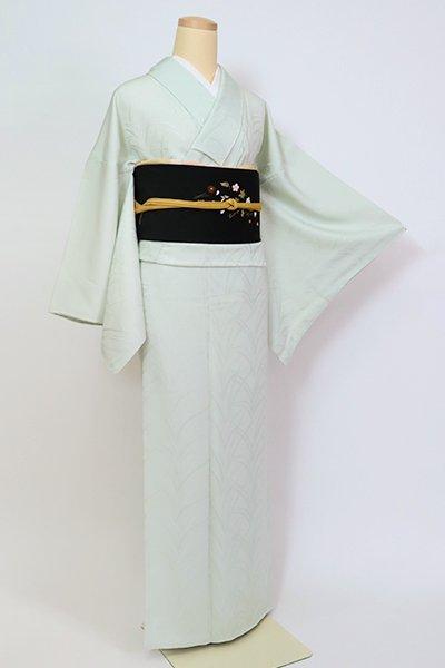 【C-1990】繍一ッ紋 色無地 白緑色 大王松の地紋(反端付・落款入)