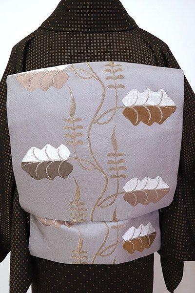 銀座【K-7154】織名古屋帯 白鼠色 蔓葉文