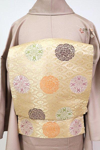 銀座【L-5362】袋帯 淡い砥粉色 有職丸文