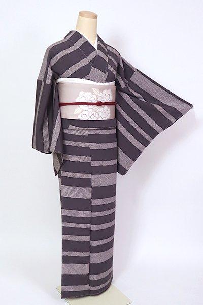 銀座【D-2676】小紋 紫鼠色 疋田の横段