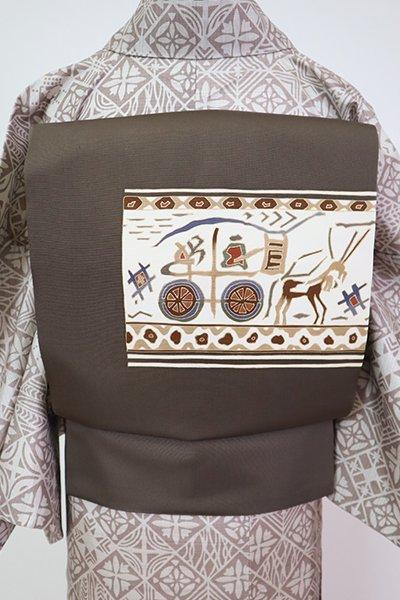 銀座【K-7157】塩瀬 染名古屋帯 江戸鼠色 古代壁画文(ゑり善扱い)
