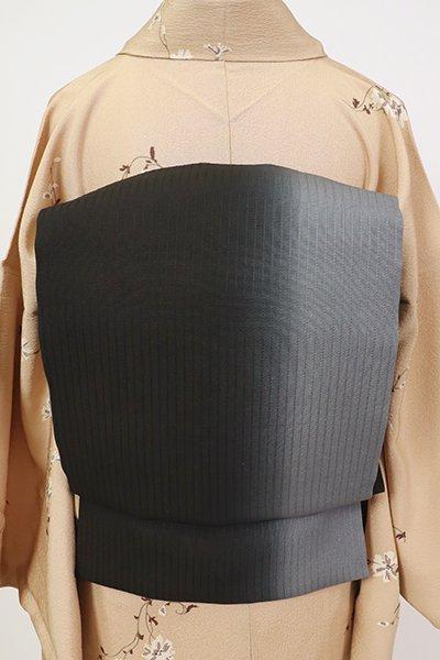 銀座【K-7165】染名古屋帯 黒色×鉛色 竪暈かし