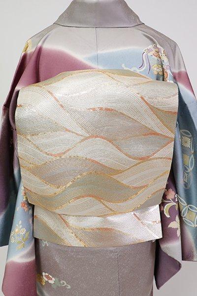 銀座【L-5370】リバーシブル 袋帯 金色/銀色 波のような抽象文