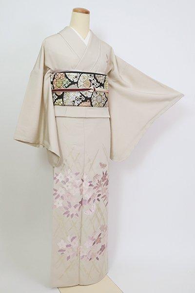 銀座【B-2773】染一ッ紋 刺繍 訪問着 亜麻色 花や蝶の図