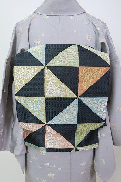 銀座【L-5371】袋帯 藍鉄色 割付文