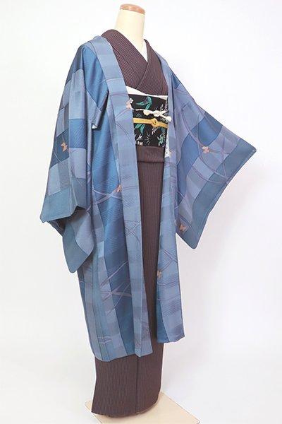銀座【E-1328】羽織 紺鼠色 芝に蝶の図(反端付)