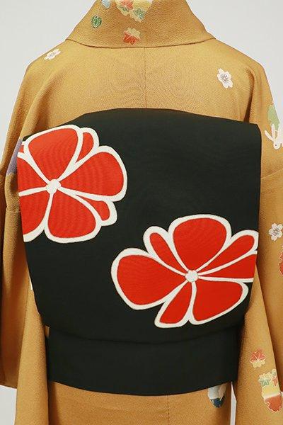 銀座【K-7168】塩瀬 染名古屋帯 黒色 大らかな花の図