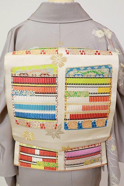 銀座【L-5377】本袋帯 練色 「大袖威毛錦」