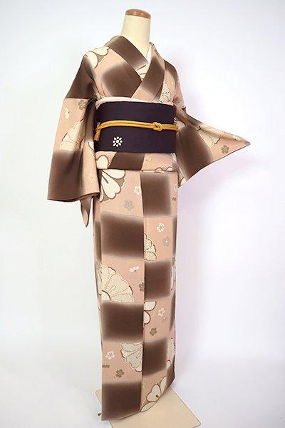 あおき【D-2686】縮緬地 小紋 憲法色×洗柿色 市松に桜の図