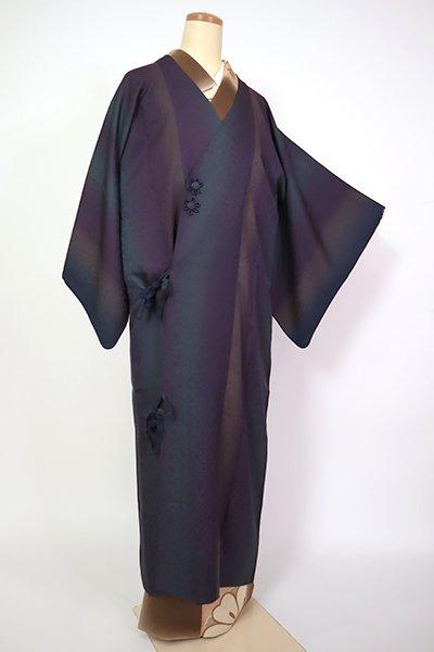 銀座【E-1329】道中着 リバーシブル 竪暈かし 滅紫色×高麗納戸色 瓢箪の地紋(袋付)