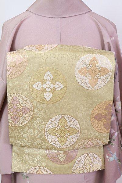 銀座【L-5378】袋帯 木蘭色 有職丸文