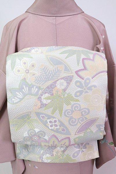 銀座【L-5379】袋帯 乳白色 松竹梅の図