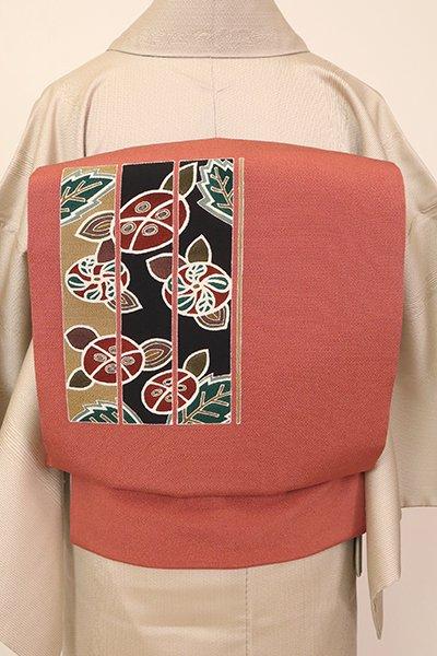 銀座【K-7178】縮緬地 染名古屋帯 赤丹色 椿の図