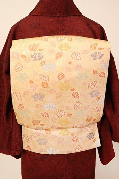 銀座【L-5381】西陣製 袋帯 丁子色 小菊唐草文(証紙付)