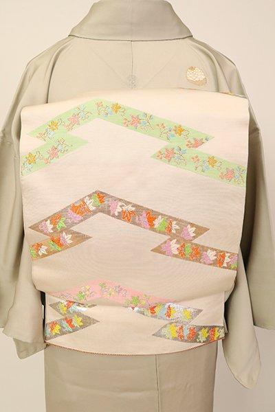 銀座【L-5383】たつむら製 本袋帯 生成り色「松皮菱華文錦」