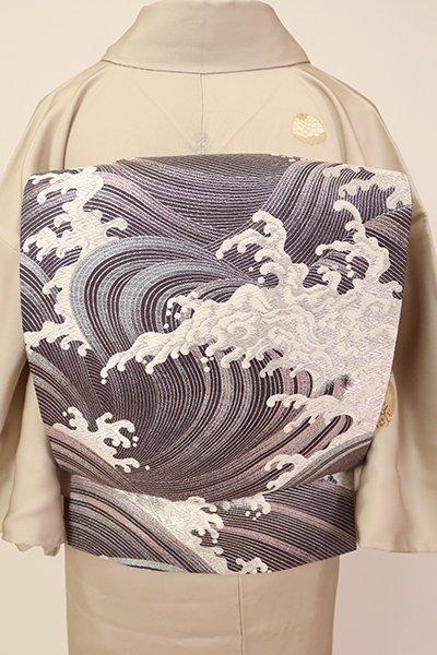 銀座【L-5384】袋帯 紫鼠色 波頭文