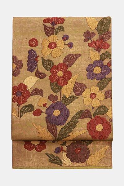 銀座【帯3634】総刺繍 袋帯 (反端 証紙付 高島屋扱い)