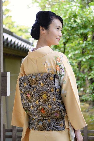 銀座【帯3640】西陣 河合美術織物製 袋帯
