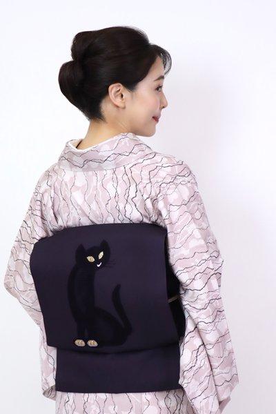 あおき【FR11-K-7181】織名古屋帯 濃鼠色 黒猫の図